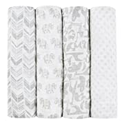 aden + anais Tea Collection Swaddle Baby Blanket, 100% Cotton Muslin, Large 47 X 47 inch, 4 Pack, Savanna Animals