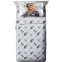Star Wars Ep 8 Epic Poster Gray 3 Piece Twin Sheet Set with Chewbacca & Stormtrooper