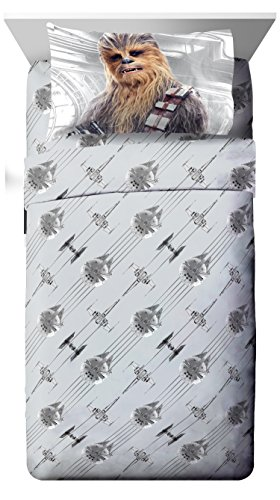 - Star Wars Ep 8 Epic Poster Gray 3 Piece Twin Sheet Set with Chewbacca & Stormtrooper