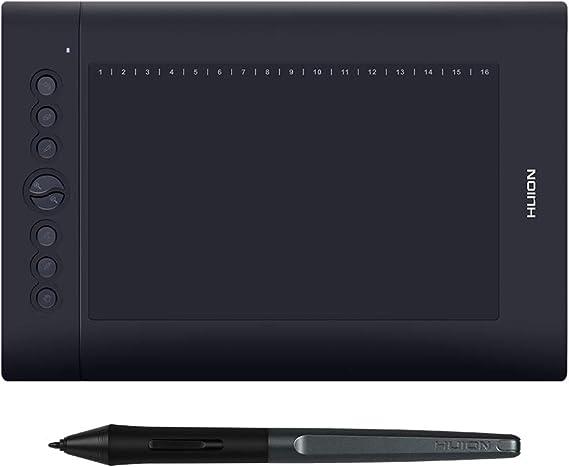 Aibecy Huion H610 Pro V2 10x6.25インチプロフェッショナルグラフィック描画タブレット署名パッドボード、8つのエクスプレスキー、16個のソフトキー、8192レベルバッテリーなしのスタイラス、Windows 7/8/10およびMac OSと互換性があり、ティーチング署名のオンラインコースを描画
