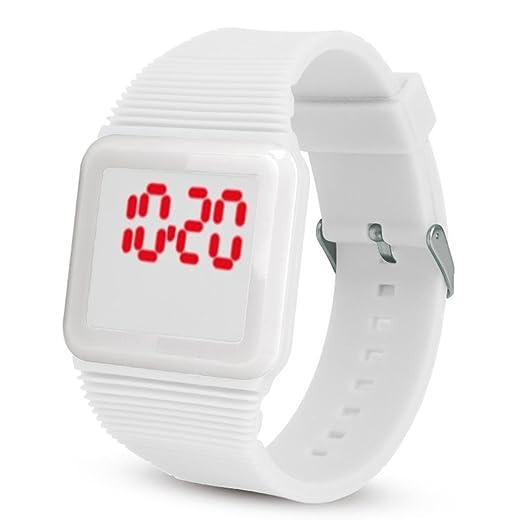 QinMM Deporte Muñeca Relojes Digitales LED Tecnología para Niños Niñas pulsera (Blanco)