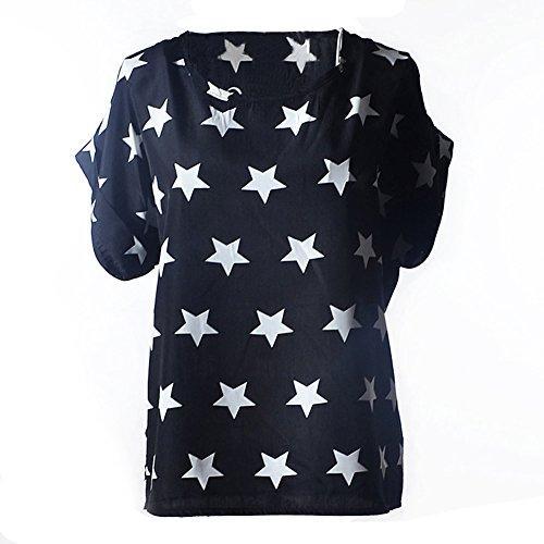 VOBAGA Mujeres Pájaro Corazón Impresión Manga corta Gasa de la Camiseta Blusas black and white stars