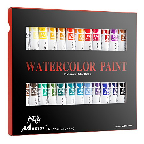 Madisi Watercolor Paint Set - 24 Vivid Colors, 12 ML Tubes