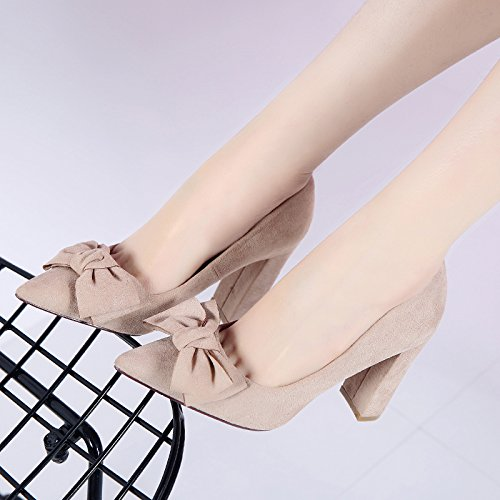 Women'S Wild MDRW Elegant Lady 5Cm Sweet 8 Tip Follow Shoes Bold Heeled Tie Leisure Light Spring Work 37 Matt Beige Shoes High Bow Single Shoes rrBqxWnfw