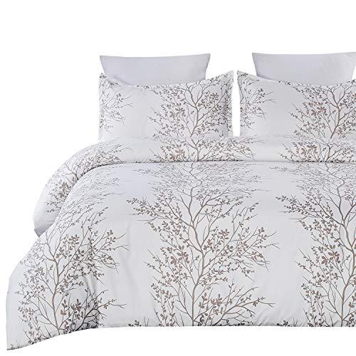 Vaulia Soft Microfiber Duvet Cover Set, Print Branch Pattern - White Color, Queen