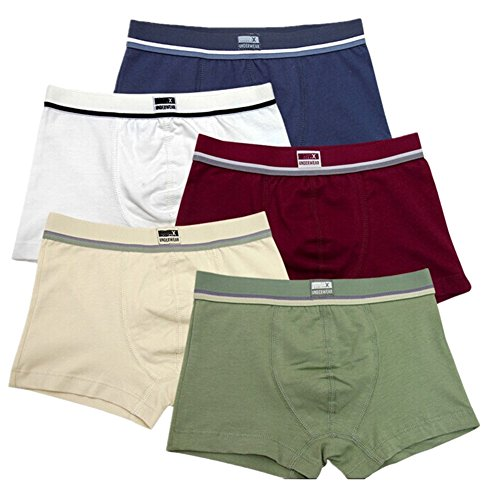 6 Boxer Shorts - Boys Solid Color Cotton Stretch Short 5 Pack Underwear Boxers Briefs (6-8 Years, B)