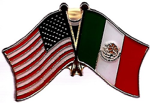 PACK of 3 Mexico & US Crossed Double Flag Lapel Pins, Mexican & American Friendship Pin Badge (Dome Lapel Pin)