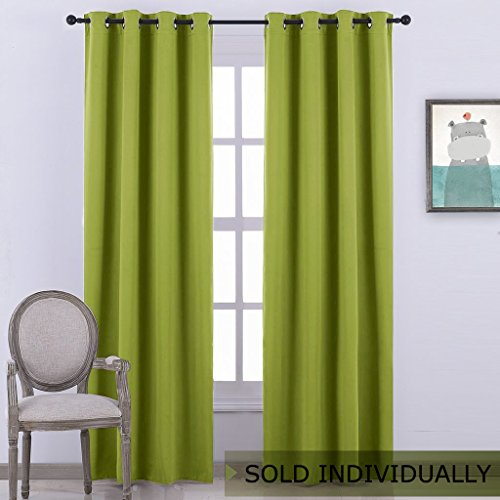 Green Window Curtain - NICETOWN Blackout Curtain Window Panel Drape - (Green Color) Thermal Insulated Window Covering Room Darkening Grommet Top Drapery for Living Room, 52Wx84L, 1 Piece