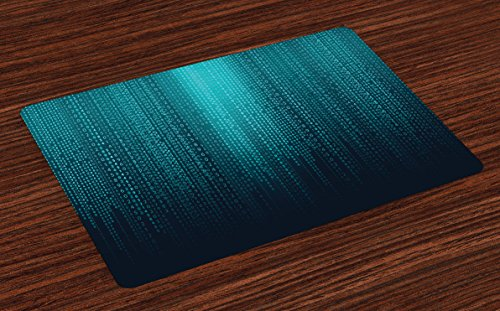 Lunarable Digital Place Mats Set of 4, Web Computer Programmer Futuristic Matrix Display with Algorithms Code Image, Washable Fabric Placemats for Dining Room Kitchen Table Decor, Petrol Blue ()