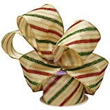 """Holiday Wired Christmas Tree Ribbon - 2 1/2"""" x 10 Yards, Red Green Gold Striped, Garland, Gifts, Wrapping, Wreaths, Presents, Gift Baskets, Boxing Day, Winter"""