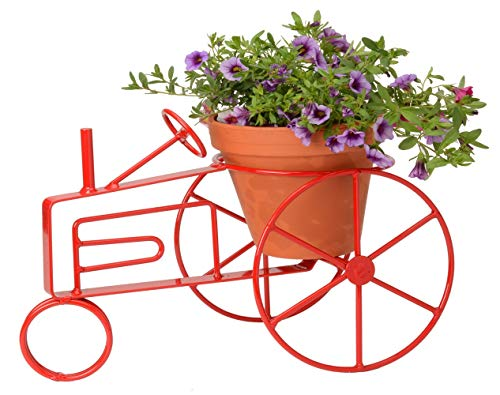 Wrought Iron Flower Pot Holder Red - Powder Coated Farm Tractor Design - Hand Made by Amish of Lancaster PA.