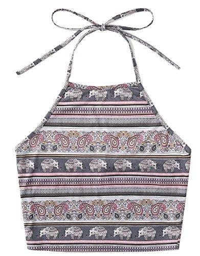 Romwe Women's Bohemian Print Sleeveless Vest Halter Cami Tank Top Crop Tee - stylishcombatboots.com