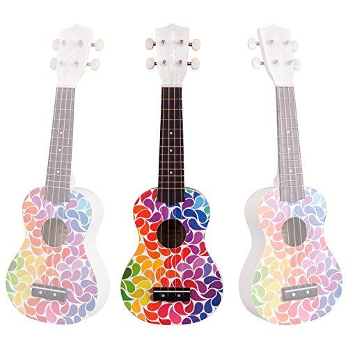 Honsing Soprano Ukulele Colorful Floral petal Painting Hawaii kids Guitar 21 inch Gift for Beginner matte finish - Image 5
