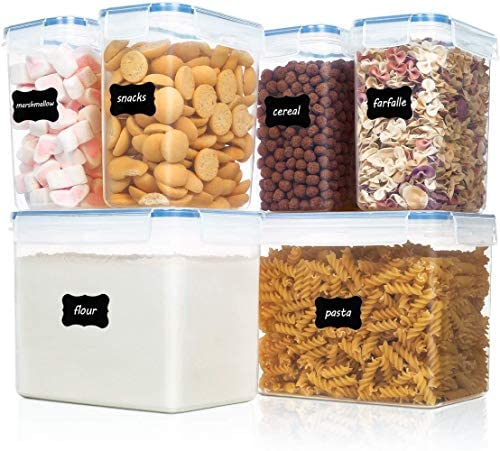 Vtopmart Airtight Food Storage Containers 6 Pieces – Plastic PBA Free Kitchen Pantry Storage Containers for Sugar,Flour and Baking Supplies – Dishwasher Safe – 24 Labels