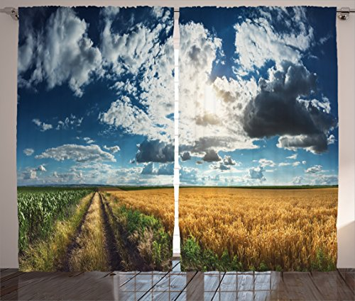 Ambesonne Farmhouse Decor Collection, Agricultural Panorama of Wheat and Corn Fields with Dividing Dirt Road on Titel Hill Picture, Living Room Bedroom Curtain 2 Panels Set, 108 X 90 Inches, Blue