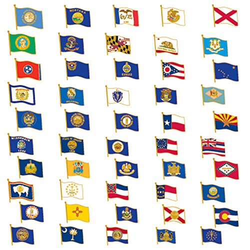 PinMart's 50 US State Flag Enamel Lapel Pin Collection Value Pack by PinMart