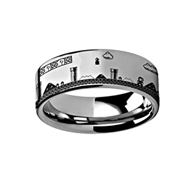 Super Mario Brothers Pixel Level Nintendo Game Ring 8mm Tungsten