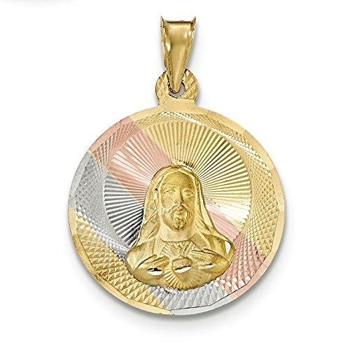 Poli 14 carats et Rhodium Diamant-cut Sagrado pendentif en forme de cercle Motif JewelryWeb Corazon