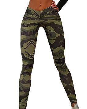 Guiran Mujer Camuflaje Conjuntos Traje Deportivos Mangas Largas Camisetas Yoga Aptitud Fitness Gym Leggings Pantalón S
