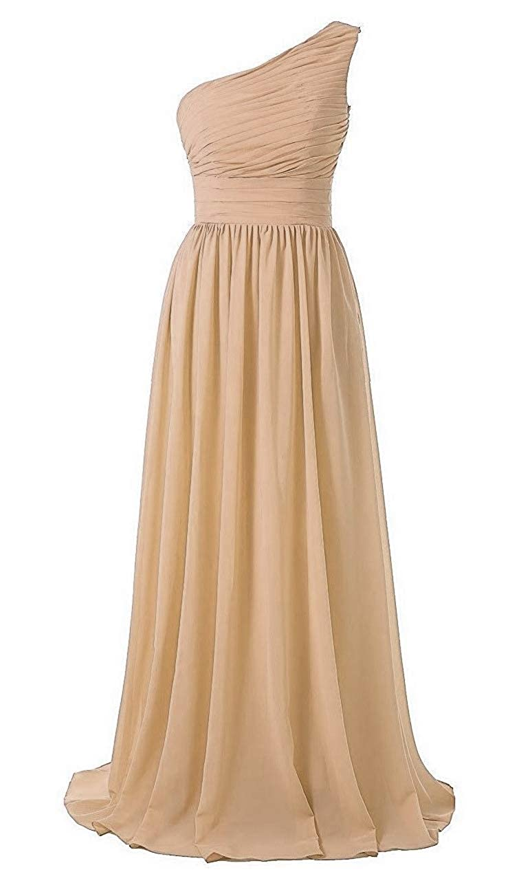 Champagne Baixia Women's Formal Long Prom Evening Dresses Sweetheart Chffion Ball Gowns