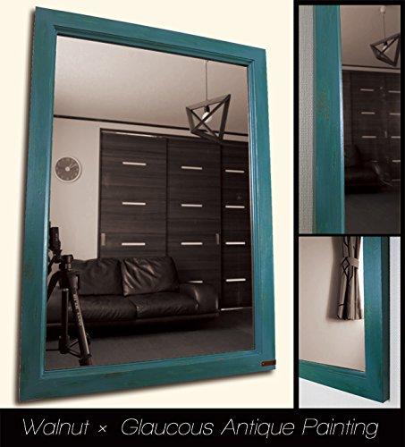 おしゃれな壁掛け鏡 アンティークデザインミラー (ウォルナット × 緑青色) B06XK6K6W2 ウォルナット × 緑青色 ウォルナット × 緑青色