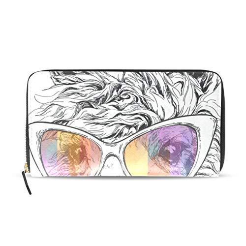 Womens Wallets Cute Puppy Wearing Glasses Leather Passport Wallet Change Purse Zip Handbags