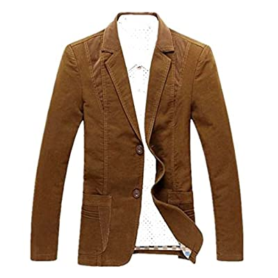 New Papijam Mens Splice Notch Lapel Two Button Thin Lightweight Blazer Coat