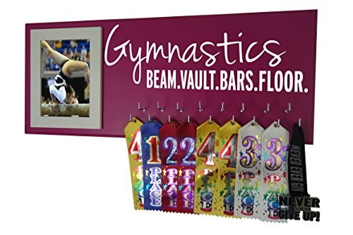 (RunningontheWall Gymnastics Equipment, Gymnast Gifts Girls Gymnastics Beam.Vault.Bars.Floor. Gymnastics Award Rack, Gymnast Ribbon Display)