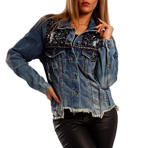 Damen Jeansjacke mit Pailletten denim jacket Fransen am Saum,  Farbe Blau Größe 36 S  Amazon.de  Bekleidung 0174100790