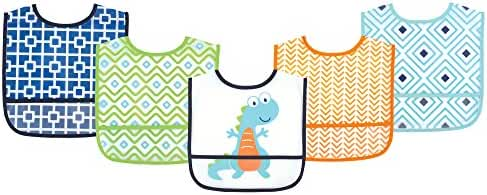 Luvable Friends Waterproof Bib, Blue Dino, 5 Count