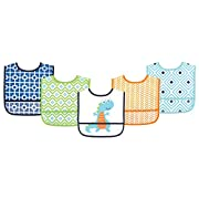 Luvable Friends Waterproof Bib, Blue Dino, 5 Count