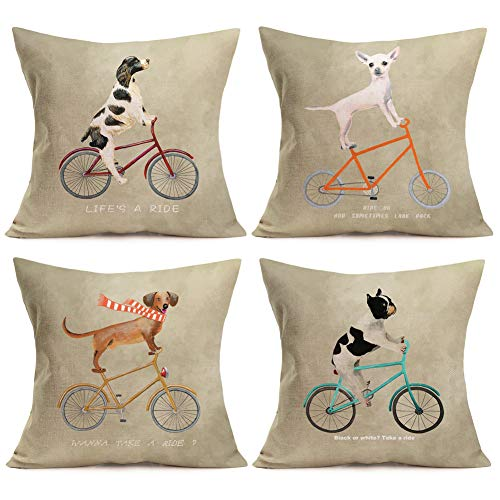 Aremazing 4 Pack Home Decor Pillowcase Cotton Linen Square Throw Pillow Case Decorative Cushion Cover Dogs Riding a Bicycle with Funny Letters 18''x18''