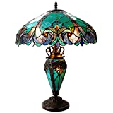 Chloe Lighting CH18780VG18-DT3 LIAISON Tiffany-Style Victorian 3 Light Double Lit Table Lamp 18-Inch Shade