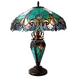 Chloe Lighting CH18780VG18-DT3 Liaison Tiffany-Style Victorian 3 Light Double Lit Table Lamp with Shade, 24.5 x 18 x 18″, Multicolor