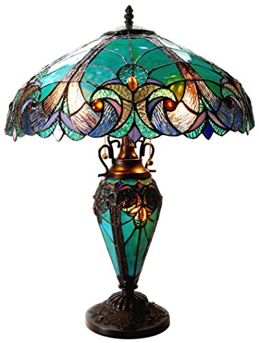 (Chloe Lighting CH18780VG18-DT3 Liaison Tiffany-Style Victorian 3 Light Double Lit Table Lamp with Shade, 24.5 x 18 x 18