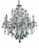 Elegant Lighting 2015D28C/RC St. Francis 28-Inch High 12-Light Chandelier, Chrome Finish with Crystal (Clear) Royal Cut RC Crystal