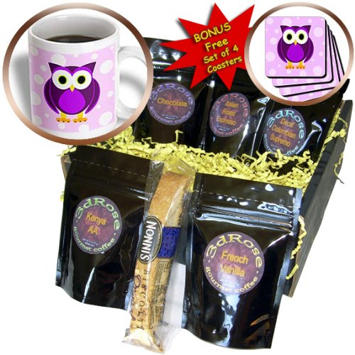 CDM product 3dRose Cute Owl On Light Purple Background Coffee Gift Basket Multi big image