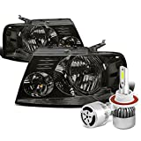07 f150 smoked headlights - Ford F-150 11th Gen Pair of Smoked Lens Clear Corner Headlight + H13 LED Conversion Kit W/ Fan