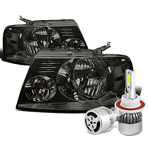 Ford F-150 11th Gen Pair of Smoked Lens Clear Corner Headlight + H13 LED Conversion Kit W/ Fan