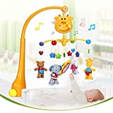 Baby Musical Crib Mobiles Toys - Infant Rattles Baby Bed Bell Toys with Hanging Rotating Cute Animals and Timing Shutdown Function