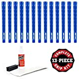 Pure Grips DTX Grip Kit with Tape, Solvent and Vise Clamp (13-Piece), Midsize, Blue