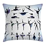 Ambesonne Art Throw Pillow Cushion Cover, Female Ballet Dancers Performing Arts Black Silhouettes Illustration Design, Decorative Square Accent Pillow Case, 20 X 20 Inches, Purple Lavender White