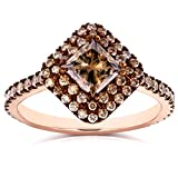 Champagne Brown Diamond Double Square Halo Ring 1 3/4ct TDW in 18k Rose Gold