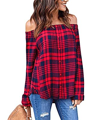 NRTHYE Women Fashion Off Shoulder Long Sleeve Button Plaid Loose Shirt Blouse Tops