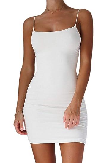 4f783aba12 Zinmuwa Mini Vestido Sin Mangas De Tirantes Finos Ajustado Ceñido Al Cuerpo  para Mujer Blanco S