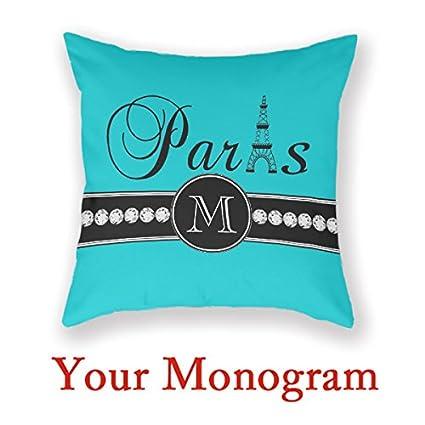 Amazon Monogram Decorative Pillow Turquoise 40C40Cd Black Paris Adorable Monogrammed Decorative Pillows