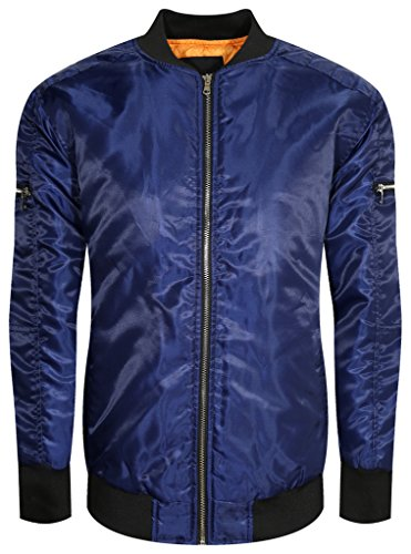UPSCALE Mens Bomber Jacket w/ Black Collar BLUE L (Mens Distressed Bomber Jacket)