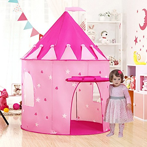 WilWolfer Princess Castle Play Tent with Glow-in-The-Dark Stars Foldable Pop Up Kids Play Tents House Toy for Indoor and Outdoor Games by WilWolfer