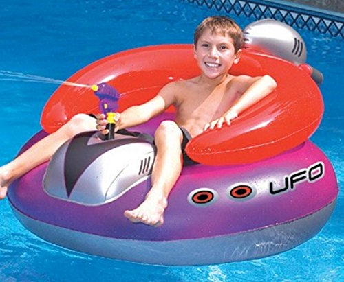 Water Sports Inflatable UFO Squirter Spaceship Ride-On Swimming Pool Float, 45-Inch