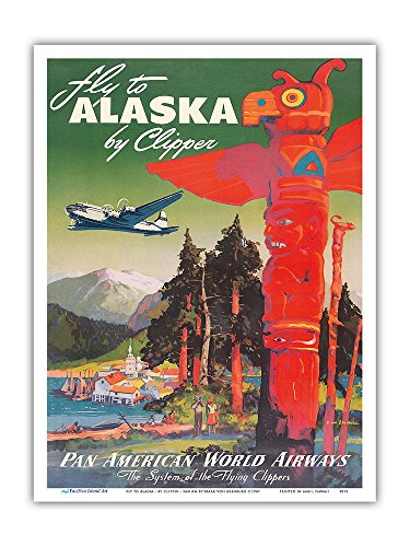 Fly to Alaska - by Clipper - Pan American World Airways - Native Totem Pole - Vintage Airline Travel Poster by Mark Von Arenburg c.1947 - Master Art Print - 9in x 12in - Native American Art Totem Poles